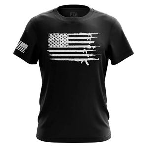 Pro Gun US Flag Military Army Mens T-Shirt Printed & Packaged in The USA