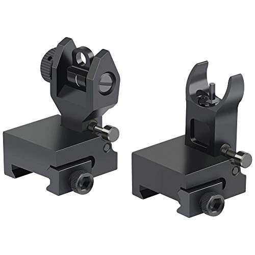 Twod Flip Up Battle Sight Front and Rear Iron Sight Set Dual Aperture BUIS,Low Profile,Black