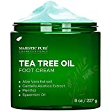 MAJESTIC PURE Athletes Foot Cream with Tea Tree Oil, Aloe & Spearmint - Hydrates, Softens & Conditions Dry Cracked Feet, Heel and Calluses,- Helps Soothe Irritated Skin - 8 oz