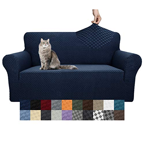YEMYHOM Couch Cover Latest Jacquard Design High Stretch Sofa Covers for 2 Cushion Couch, Pet Dog Cat Proof Loveseat Slipcover Non Slip Magic Elastic Furniture Protector (Loveseat, Navy)