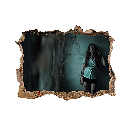 DNVEN 24 inches x 18 inches 3D Break Wall Hole Scary Decadent Bad Girl Happy Halloween igh Definition False Faux Window Frame Window Mural Vinyl Bedroom Playroom Wall Decals Stickers