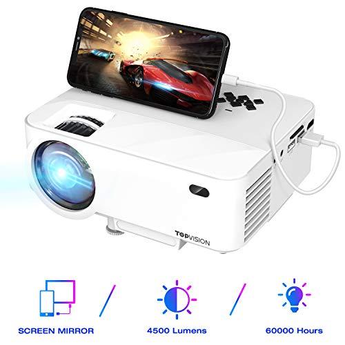 "TOPVISION Mini Beamer mit Screen Mirroring,4500 Lumen Heimkino Beamer Full HD 1080P Video Beamer mit 180\"" Display, 60000 Stunden LED Beamer kompatibel mit HDMI/USB/SD/AV/VGA"