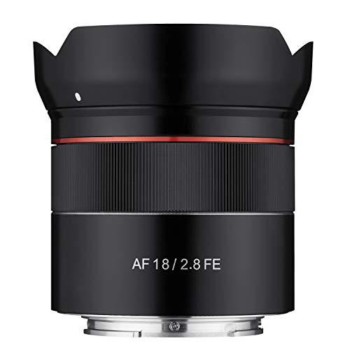 Samyang AF 18MM F2.8 FE SONY E - Objetivo de gran angular para cámaras réflex Sony Alpha (montura tipo E), con formato completo y sensor APS-C, color negro
