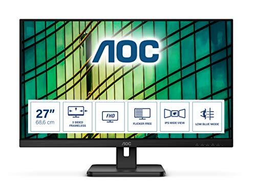 AOC 27E2QAE - 27 Zoll FHD Monitor, Adaptive Sync (1920x1080, 75 Hz, VGA, HDMI, DisplayPort) schwarz