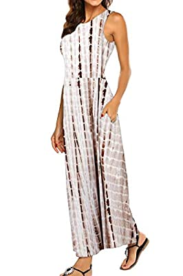 Soft and Stretchy Material is Perfect for Spring, Summer, Autumn and Winter Features: Striped Maxi Dresses, Sleeveless, Round Neck, Two Side Pockets, Elastic at Waist Fashion Mix: Paired it with Beach Hat, Necklace, Different Types of Shoes. You'll l...