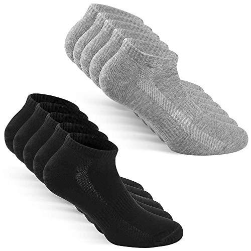TUUHAW Calzini Uomo Donna Sportivi calze 10 Paia Traspirante Cotone Calze NeroGrigio 47-50