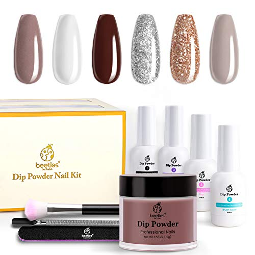 Beetles Dip Powder Nails Kit 6 Colors Dipping Powder Burgundy Red Champagne Gold Dip Nails Kit Snow White Nude Grey Christmas Nail Dip System for French,No LED Nail Lamp Needed, 0.53 fl.Oz/each