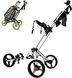 HFJKD Carritos de Golf, Bicicleta Plegable de Golf de 3 Ruedas, aleación de Aluminio con portavasos/Soporte para Paraguas/Freno, Encendido y Apagado en un Segundo