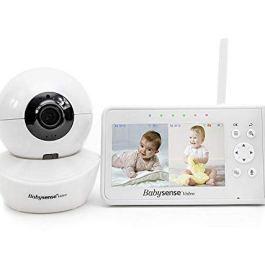 Babysense Video Baby Monitor with Camera Pan Zoom Tilt (PTZ) and 4.3 Inch Split Screen, Model: V43US