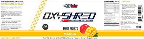 EHPlabs OxyShred Thermogenic Fat Burner Boost Metabolism, Low Stimulant, Destroy Stubborn Fat Cells (Mango) 5