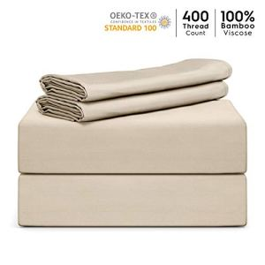 """Tafts Bamboo Sheets King Size - 100% Pure Organic Viscose Bamboo Sheet Set - 400TC Bamboo Bed Sheets - 4 Pieces - 17"""" Deep Pocket - Silk Feel, Cooling, Anti-Static, Hypoallergenic (Sky Blue)"""