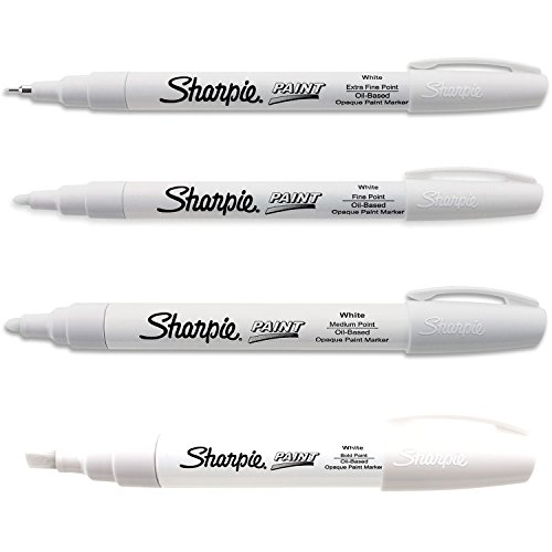 Sharpie Paint Marker Oil Based White All Sizes Kit with Ex Fine, Fine, Medium & Bold