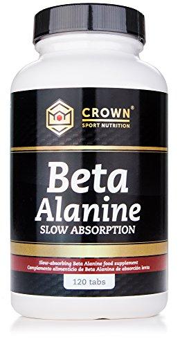 Crown Sport Nutrition Beta Alanina Slow Absorption, Ayuda a reducir la parestesia, Suplemento para deportistas - 120 comprimidos