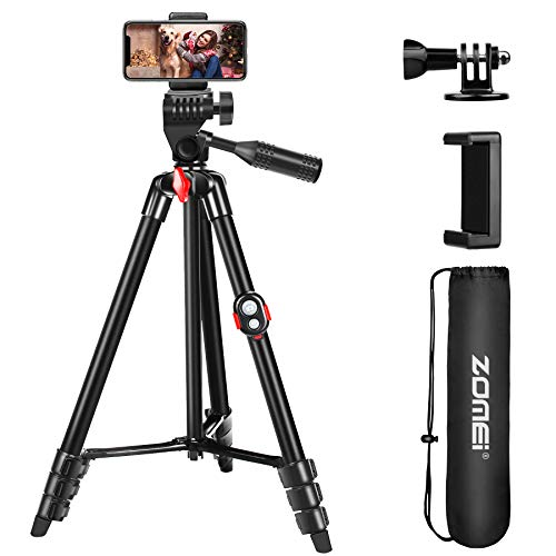 """ZOMEI 54"""" Phone Tripod with Bluetooth Remote and Smartphone Holder"""