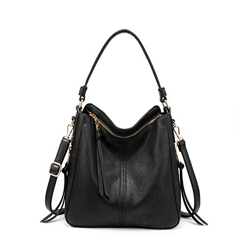 """411F4YZeBoL 💛【Fashion Hobo Bag】: made of soft and durable FAUX leather(VEGAN leather), featuring anti-scratch and slightly waterproof; With classic and fashionable Gun-Metal hardware, side tassel, adding much elegance. A gorgeous, fashionable and practical handbags purses for women. 💛【Large Size】: 38.5*13*33 cm (15.2"""" L x 5.12"""" W x 13""""H), large enough for daily essentials, can fill your cellphone, iPad, wallet, sunglass, and other essentials into womens purses and handbags. 💛【Well-organized Structure】: top zipper closure and 2 side zipper pockets at side facade with exqusited tassel accents, 1 safety back zipper pocket at back facade. Inside is a big centre divider compartment, 2 main compartment, 1 interrior zipper pockets and 2 open pockets. Lining was made of sturdy and durable polyester."""