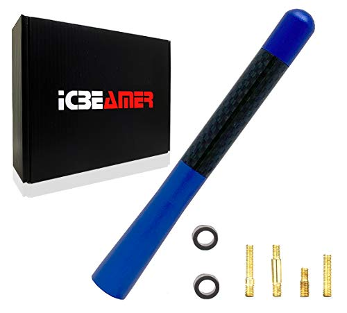 ICBEAMER 5' 127 mm Aluminum Blue w/Real Carbon Fiber Universal AM/FM Radio Antenna Screw-in Stubby Aerial Replacement