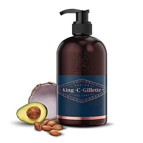 King C. Gillette Detergente per la Cura della Barba e Viso da Uomo con Acqua di Cocco, Olio di Argan e Olio di Avocado, 350 ml