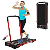 FYC 2-in-1 Folding Treadmill for Home Under Desk Treadmill Compact Treadmill Exercise Workout Electric Foldable Running Machine Portable Treadmill for Running and Walking, Installation-Free (Red)