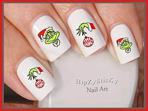 Holiday Christmas - Christmas 801X Grinch #1 Grinch Ornament Smile Green Face Nail Decals - WaterSlide Nail Art Decals - Highest Quality! Made in USA