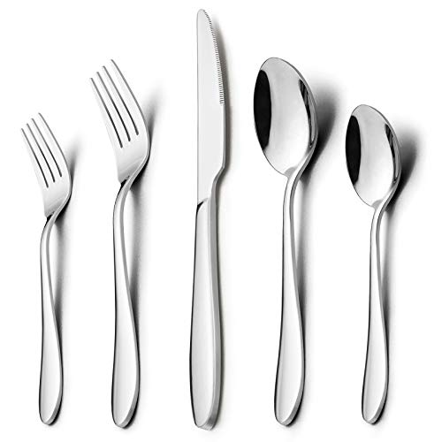60-Piece Silverware Set, HaWare Stainless Steel Modern Flatware Cutlery Set, Elegant Classic Tableware for 12, Dinner Knives/Spoons/Forks, Mirror Polished, Dishwasher Safe