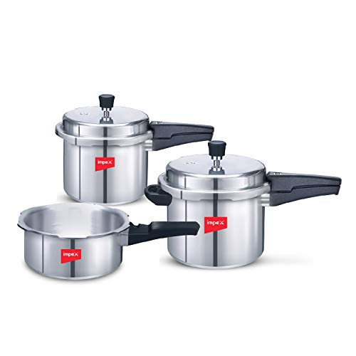 Impex IFC 235 Induction Base Aluminium Pressure Cooker Family Combo Set with Outer Lid (Silver, 2, 3...