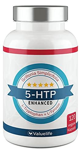 5-HTP Enhanced: VERGLEICHSSIEGER 2020* 180mg reines 5 HTP aus Griffonia Simplicifolia Extrakt I L-Tryptophan, L-Tyrosin, Tigergras & Vitamin B6, B12 - 120 Kapseln von VALUELIFE