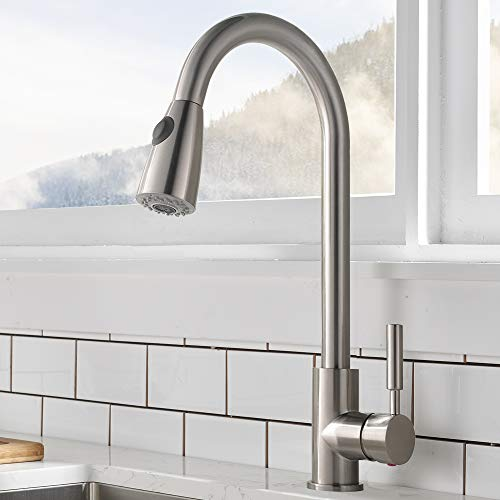 Comllen Commercial Single Handle High Arc Brushed Nickel Pull Out...