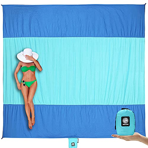Wekapo Beach Blanket Sandproof, Extra Large Oversized 10'X 9' for 2-8 Adults Beach Mat, Big & Compact Sand Free Mat Quick Drying, Lightweight & Durable with 6 Stakes & 4 Corner Pockets