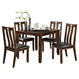 Giantex 5 PCS Dining Table Set with 4 Chairs, Wood Kitchen Set, Dining Room Upholstered Chairs Padded Seat Home Furniture (Brown)