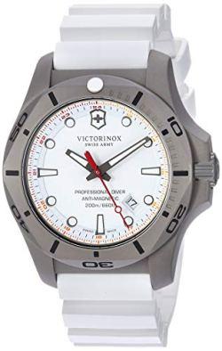 Victorinox Swiss Army Men's I.N.O.X. Titanium Swiss-Quartz Diving Watch with Rubber Strap, White, 22.4 (Model: 241811)