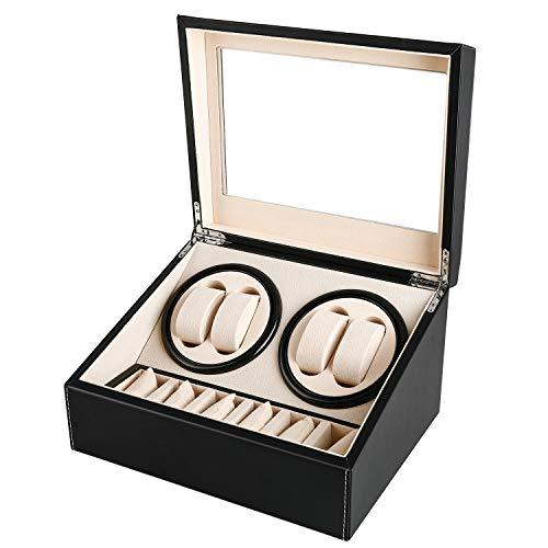 Automatische Uhrenbeweger Box, Gifort drehen Uhrenbeweger 4 + 6 Lagerung Schmuckschatulle PU-Leder Uhrengehäuse mit Batteriebetrieb oder Netzteil