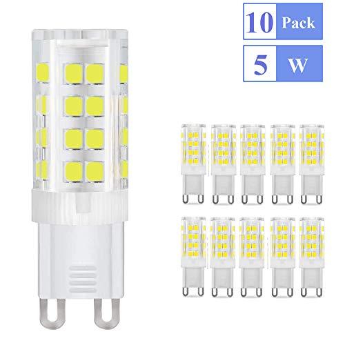Lampadina LED G9 5W Ketom, Equivalente a 40W Lampada Alogena, G9 LED Lampadina 6000K Bianco Freddo, G9 LED Luce Calda 420LM 85Ra 230V Non Dimmerabile 10 Pezzi