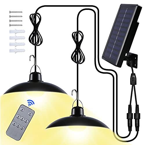 Lampada Solare da Esterno,Luce Solare LED Esterno IP65 Impermeabile Lampada Solare a Sospensione con Telecomando per Giardino/Agriturismi(Bianco Caldo)