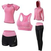 JULY'S SONG Workout Outfit Set for Women Yoga Exercise Clothes with Sport Bra Shirt Shorts Leggings Activewear Jacket, Fitness Tracksuits (Pink, S)