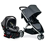 Britax B-Lively Travel System with B-Safe Ultra Infant Car Seat, Gris | 2 Layer Impact Protection, One Hand Fold, XL Storage, Ventilated Canopy, Easy to Maneuver