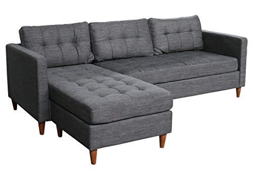 KMH®, Ecksofa Oslo, Strukturstoff grau, Breite 219 cm, Seiten vertauschbar (#204635)