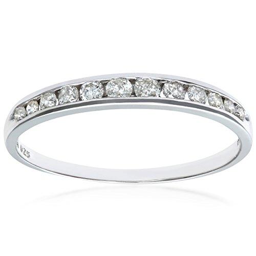 Naava Bague, Anillo para Mujer de Oro 9K con 12 Diamantes 0.02 ct, Oro blanco, 14