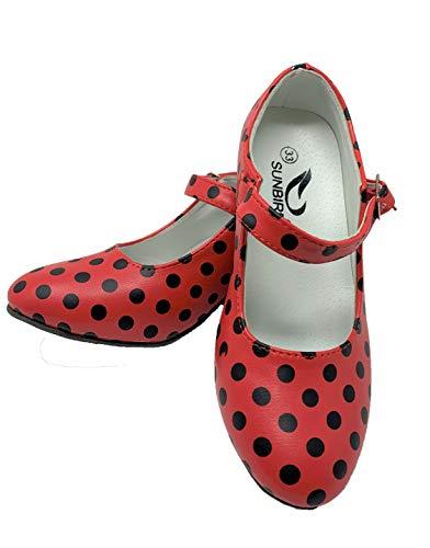 Zapato Flamenco Baile sevillanas niña,Mujer Rojo Lunares 25