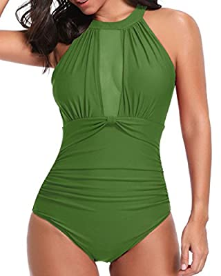 High neck design with a padded push-up bra and neck hook closure provide support and shaping. The see-through mesh style and deep plunge back design amp up the bathing suit, to be more charming, awesome, and chic. The smooth fabric material is stretc...
