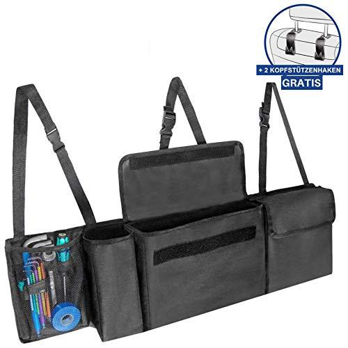 DEZENDO Premium Kofferraum-Organizer hängend fürs Auto (schwarz) | Geräumige Kofferraum-Tasche mit Klett-Befestigung | Platzsparende Kofferraumbox für Reise-Utensilien & Spielzeug | z.b. Tiguan & Kuga