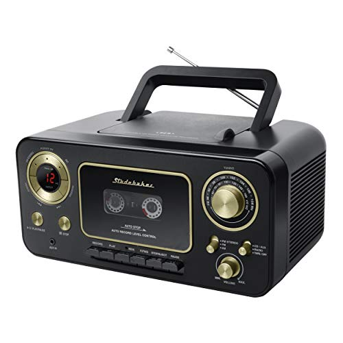 Studebaker SB2135BG Portable CD Player with AM/FM Radio and Cassette Player/Recorder in Black and Gold