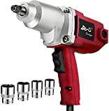 EVERDRAGON Corded Electric Impact Wrench 7.5A 1/2-Inch - MAX.230 Ft-Lbs - Heavy Duty Impact Wrench Gun with Sockets & Carrying Blow Mould Case For DIY