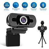 Webcam LarmTek 1080P Full HD avec cache webcam, caméra d'ordinateur portable...