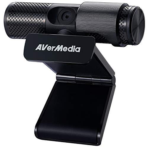 AVerMedia Live Stream-Webcam CAM 313, Full HD 1080p Streaming-Webcam, Sichtschutzauslöser, Dual-Mikrofon, 360 Grad drehbares Design, exklusive AI-Facial Tracking-Aufkleber (PW313)