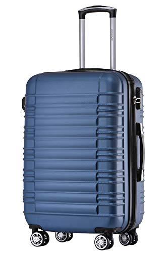 BEIBYE 2088 Zwillingsrollen Reisekoffer Koffer Trolleys Hartschale M-L-XL-Set in 13 Farben (Blau, L)
