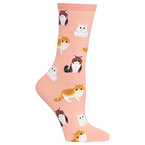 HotSox Womens Persian Cats Socks, Blush, 1 Pair, Womens Shoe 4-10