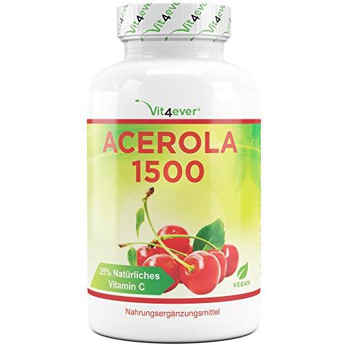 Vit4ever® Acerola Kirsche - natürliches Vitamin C - 180 Kapseln - Hochdosiert mit 1500 mg Acerola Fruchtpulver je Tagesdosies - Laborgeprüft - Ohne unerwünschte Zusätze - Vegan