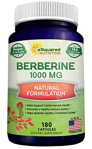 Pure Berberine 1000mg Supplement - 180 Veggie Capsules, Natural Berberine Hydrochloride HCL Plus, Max Strength 1000 mg (2X 500mg), Potent Vegan Extract for Healthy Blood Sugar Levels & Blood Glucose 1