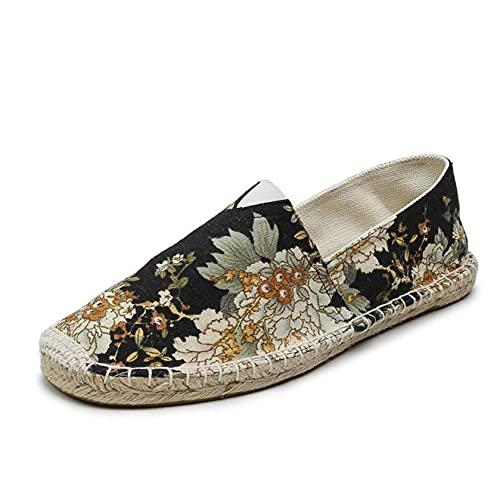 Alpargatas de Hombre con Estampado de Estilo Chino, Zapatos Casuales de Corte bajo y sin Cordones, Suela de Cuerda Plana, Zapatos de Lona de Moda Ligeros