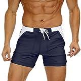 KEFITEVD Boxer de bain pour homme Short de bain avec poches, taille élastique et cordon de serrage Style sportif Coupe près du corps, bleu foncé, 32